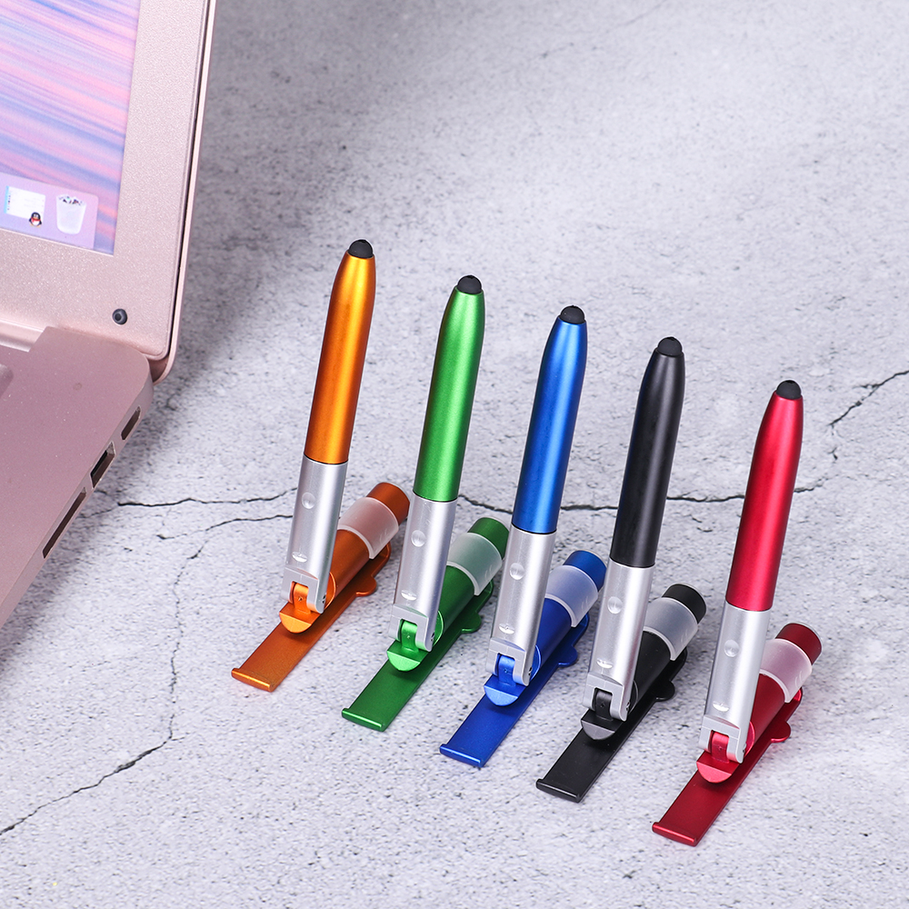 Creative New Universal Capacitive Pen 4-in-1 Folding Ballpoint Pen Mobile Phone Holder With LED Lighting Screen Stylus Touch Pen