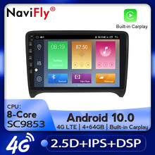 Navifly Auto Radio Multimedia Video Player Gps Navigatie Android 10.0 4Gb + 64Gb Voor Audi Tt MK2 8J 2006-2012 Carplay Dsp 4G Lte