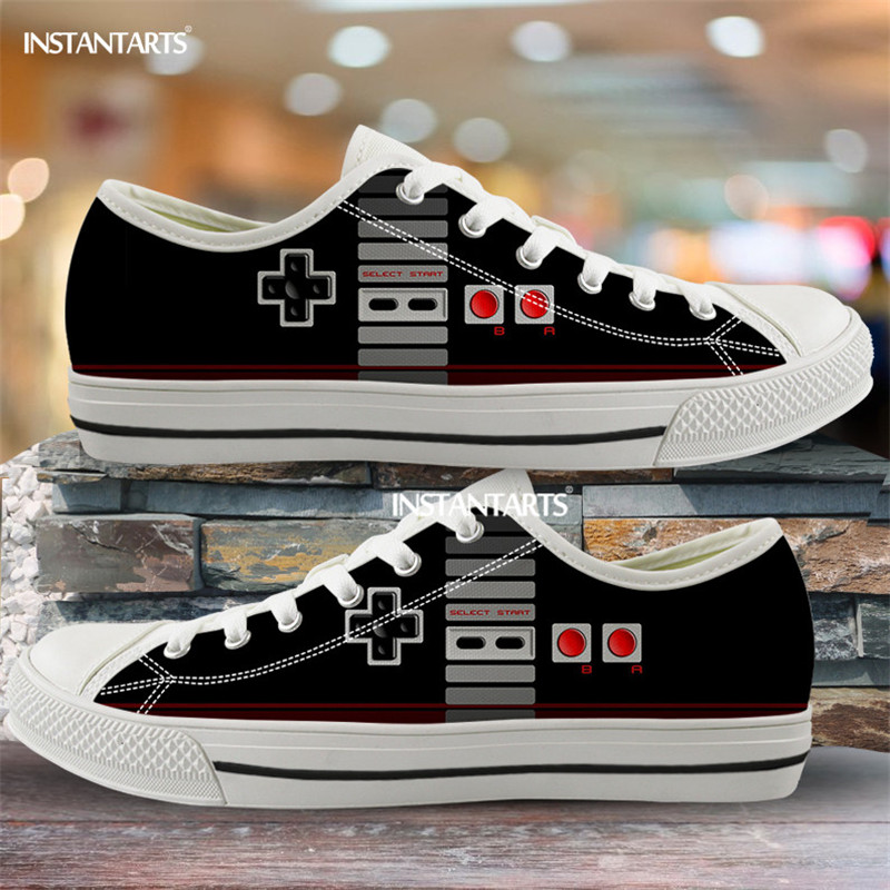 INSTANTARTS Black Gamepad Print Canvas Shoe Low Tops Boys Girls 3D Brand Customizable Flats Shoes For Women Men Casual Sneakers