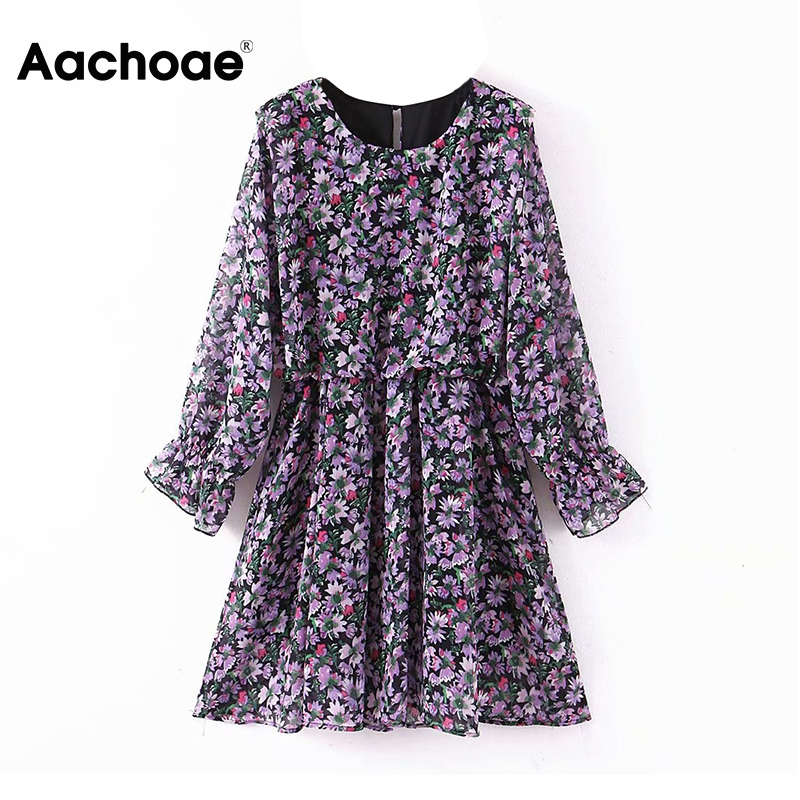 Aachoae Women Floral Dress Elegant O Neck Butterfly Long Sleeve Mini Dress Sundress Beach Pleated Dress Female Casual Robe Femme