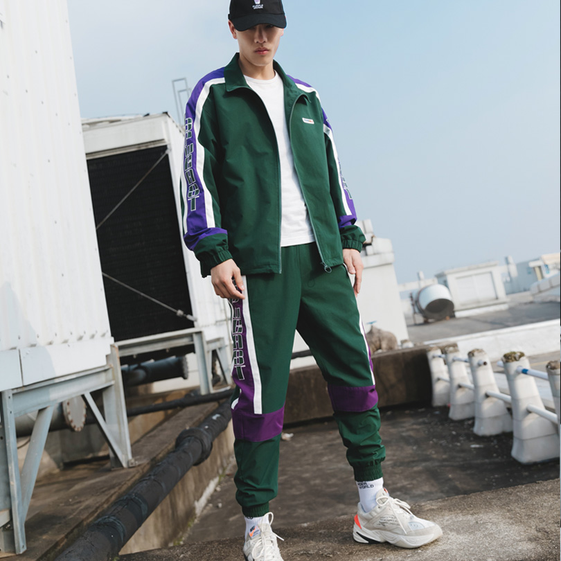 Brand Men's Sports Suits Loose Comfortable Casual Jacket+Sports Pants 2PCS Suit Zipper Green Fashion Jogging Track Suit 2019 New