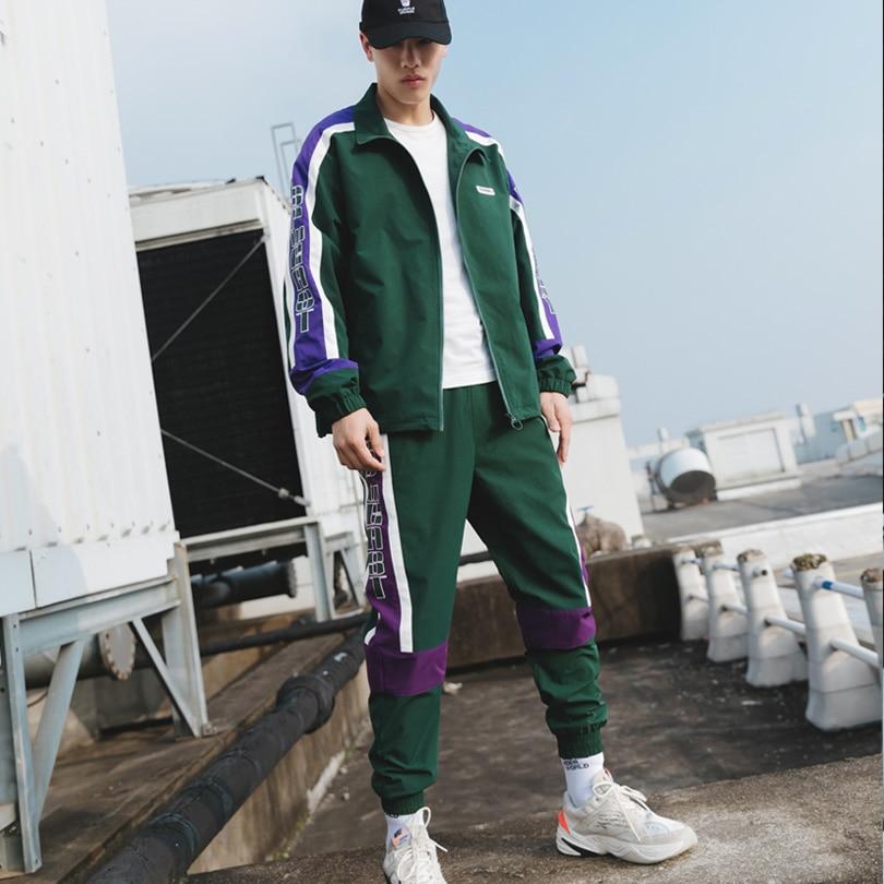 Brand Men's Sports Suits Loose Comfortable Casual Jacket+Sports Pants 2PCS Suit Zipper Green Fashion Jogging Track Suit 2019 New