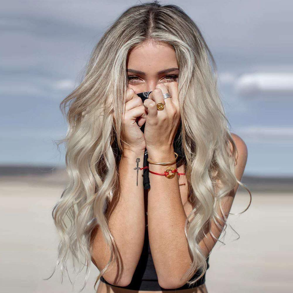 Light Blonde Human Hair Lace Front Wigs Free Part Lace Front Wigs Ombre Brown Rooted Blonde Hair Wigs 24 Inch Transparent Lace