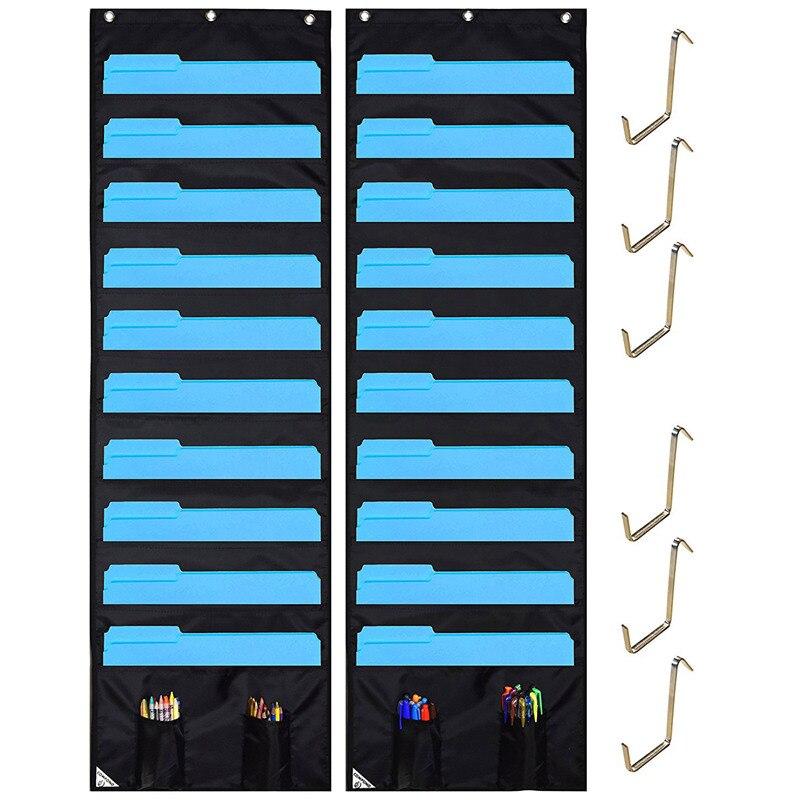 2pcs 10 Layers Oxford Cloth Classroom Books Stationary Storage Bag Office Folders Storage Bag (black)