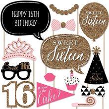 Ouro azul prata doce 16 topper decoração da festa de aniversário para meninas decoração do bolo topper ww23