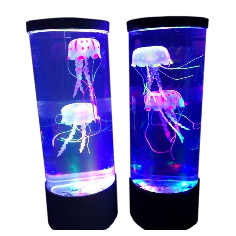 2020 New Led Jellyfish Night Light Home Aquarium Decoration Lamp Bedside Lamp Creative Atmosphere Lamp Fashion Beautiful Toy