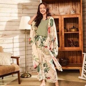 Image 3 - Women Fresh Style 4Pcs Pajama Set Soft Wide Sleeve Loose Cardiagn+Vest+Shorts+Pants Sleepwear Suit Ladies Homewear Casual Wear