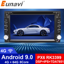 цена на Eunavi Universal 2 Din Android 9.0 Car Dvd Player GPS+wifi+bluetooth+radio+Octa Core+ddr3+Capacitive Touch Screen+car stereo
