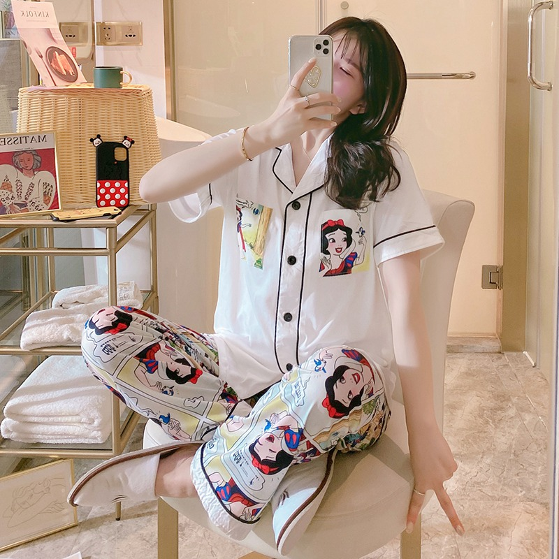2020 Summer Short Sleeve Long Pants Pajama Sets For Women Comic Print Sleepwear Pyjamas Homewear Loungewear Pijama Mujer Clothes