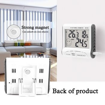 Strong Magnet Digital Humidity Display Hygrometer Thermometer Indoor Outdoor Temperature Humidity Monitor With Probe sht2000 thermostat temperature humidity control thermometer hygrometer humidista controller ac 110v 85 230v 10a digital display