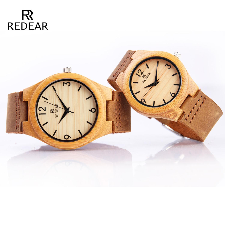 Redear Bamboo Couple Watches 2020 Luxury Brand Handmade Wooden Women Watch Men Quartz Wristwatches Leather Relojes Hombre Gift