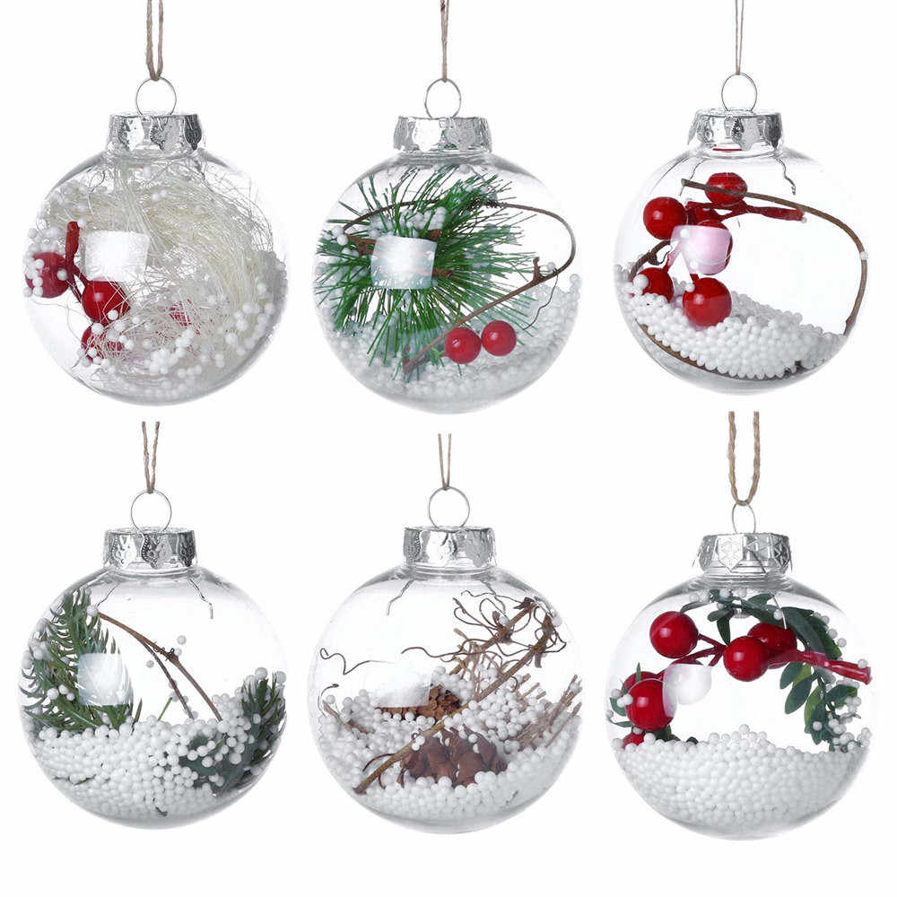 Plastic Clear Christmas Balls Tree Pendant Hanging Home Ornament Christmas Decoration Ball Hanging Xmas Tree Ball Home Decor