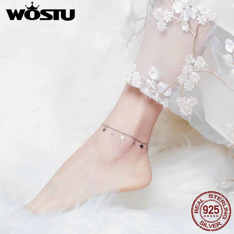 WOSTU ขายร้อนดาวสร้อยข้อมือ 100% สร้อยข้อมือเงินแท้ 925 สำหรับผู้หญิงขา Chian Link แฟชั่นเครื่องประดับของขวัญ CQT008