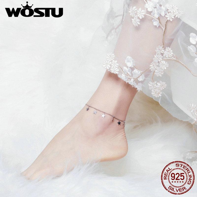 WOSTU Hot Sale Stars Anklet Chain 100% 925 Sterling Silver Bracelet For Women Foot Leg Chian Link Fashion Jewelry Gifts CQT008