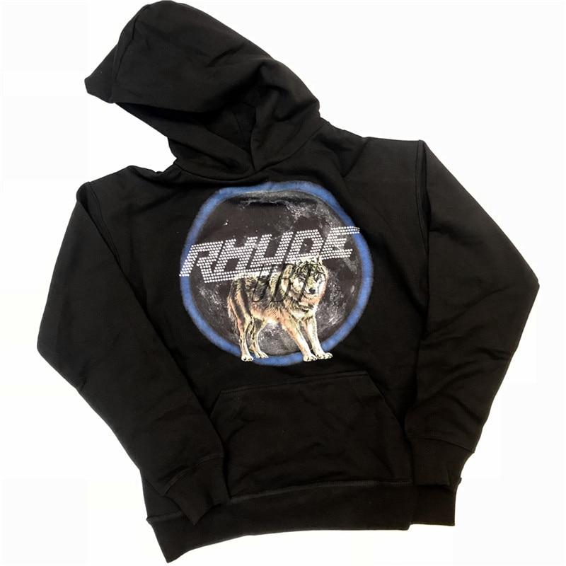 2019 nouveau Rhude diamants impression loup motif hommes sweat à capuche pour femme Hip Hop 1:1 haute qualité Rhude pull Sweatshirts S-XL