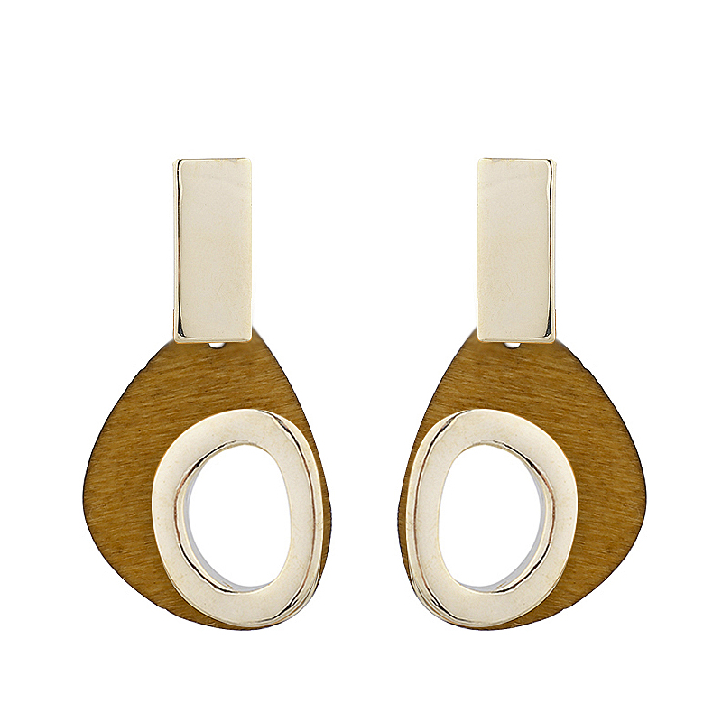 AENSOA Small New Design Cute Handmade Metal Wooden Earrings Korean Natural African Alloy Wood Earrings Statement Jewelry