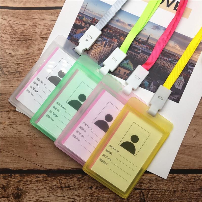 Портативный цветной пластиковый держатель для удостоверения личности для сотрудников, именной ярлык, ремешок для шеи, Рабочая карта для сотрудников, канцелярские принадлежности