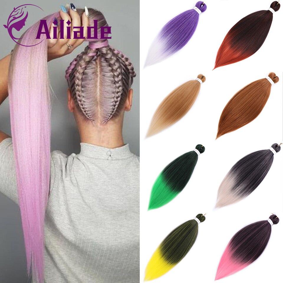 AILIADE 100 г 26 дюймов Длинные Синтетические Джамбо оплетка удлинитель волос Омбре розовый зеленый синий фиолетовый блонд