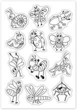 Tampons transparents en Silicone pour la fabrication de cartes de Scrapbooking, motifs d'insecte de dessin animé, papillon, escargot, abeille, libellule, araignée, 1 pièce