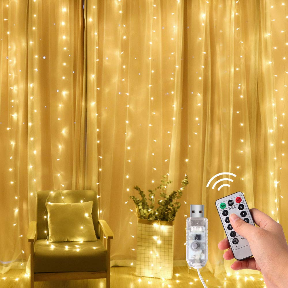 3x1/3x2/3x3m Remote Control USB Led Curtain Lights Fairy Outdoor Led Light Decoration For Christmas/Wedding/Party/Curtain/Garden