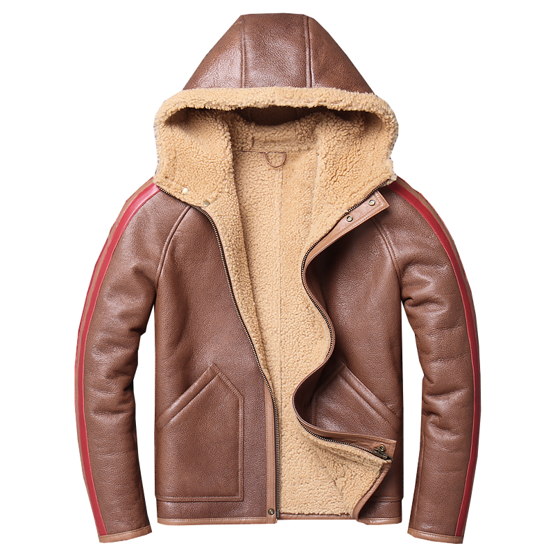 Image 2 - Free shipping,Winter Sheep fur coat,Natural wool Shearling,thick warm leather jacket,mens sheepskin coat.plus size jackets.Genuine Leather Coats   -