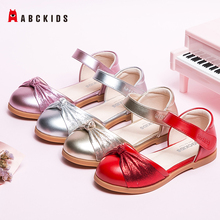 ABCkids Girls Bowknot Princess Leather Shoes Girls Fashion Singles Shoes Children Korean Style Kids Non-slip Rubber Bottom Shoes abckids new spring autumn girls soft leather shoes children girls princess bowknot sneakers single shoes kids dance shoes rubber