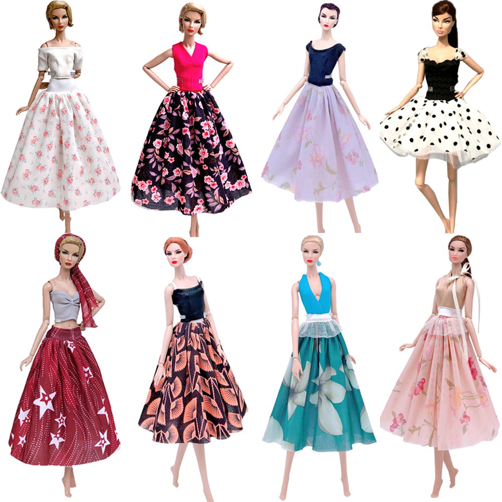 NK  Newest Doll Dress Beautiful Skirt Handmade Dancing Clothes Top Fashion Outfit For Barbie Doll Accessories Girls' Gift  JJ
