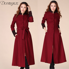 2019 women clothing Autumn Winter coat of women's cashmere New plus size Woolen coat High grade Fabric Korea Long woman Trench