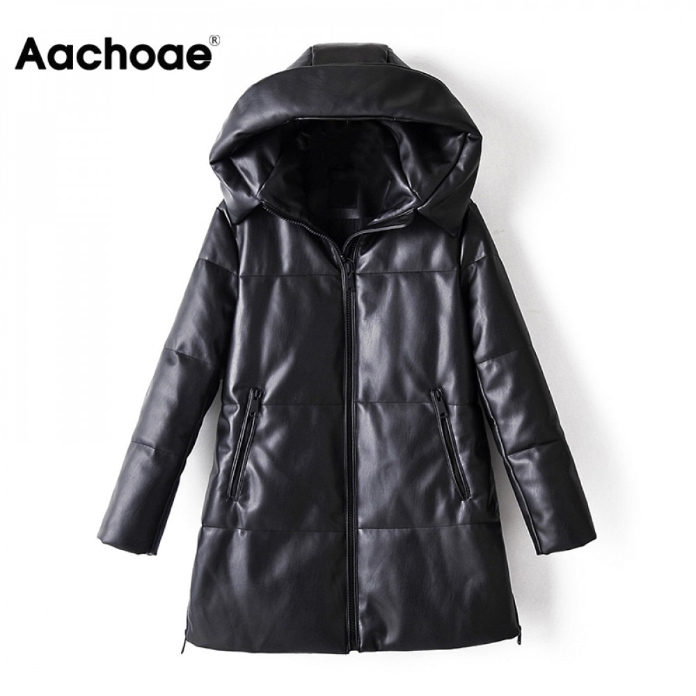 Aachoae 2020 Winter Casual Faux Leather Black Coat Women Long Sleeve Thick Warm Jacket Lady Pu Leather Midi Long Hooded Tops