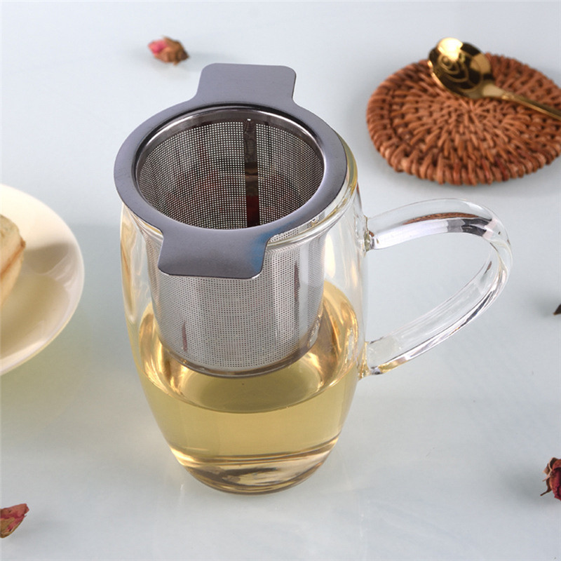 Lid Tea and Coffee Filters Fine Mesh Strainer Reusable 304 Stainless Steel Infusers Basket