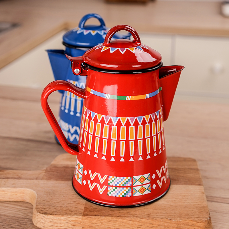 Enamel Coffee Pot With Hand Tea Kettle Induction Cooker Gas Stove Universal Milk Pitcher 800ML Red Blue Kettle Teapot Picnic Pot