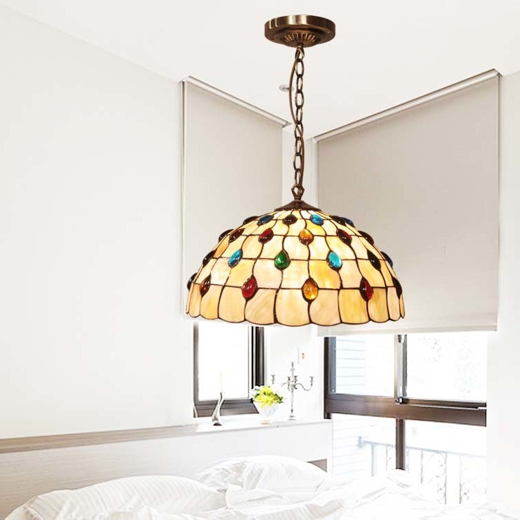 European Glass Beads Lighting Cover Peacock Tail Living Room Dining Room Study Bedroom Cafe Modern Bed Lustre Pendente