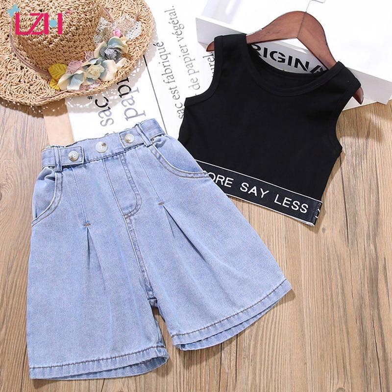 Girls Clothing Sets 2020 Summer Toddler Girls Clothes Jazz Vest+Jeans Shorts 2pcs Outfits Kids Sport Suit Children Clothing 1