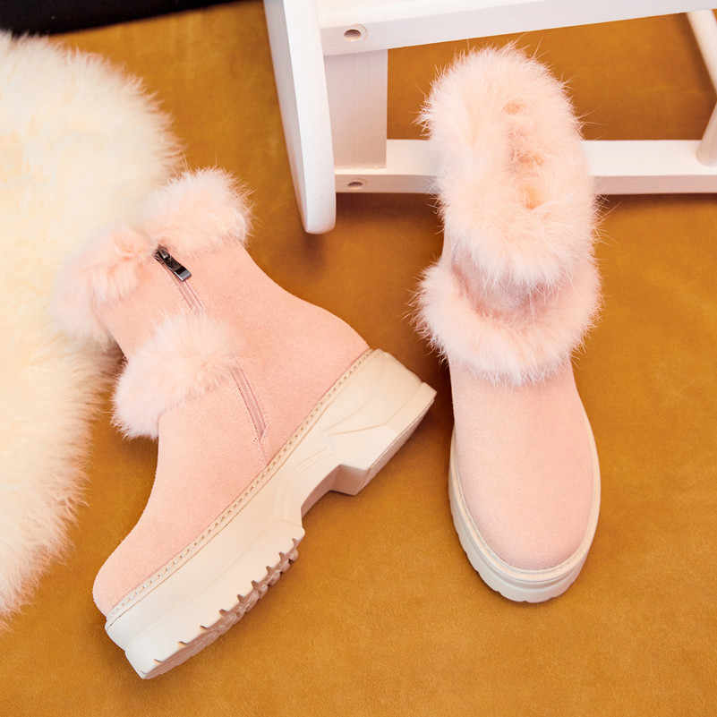 Meotina Real Fur Snow Boots Women Cow Suede Flat Platform Ankle Boots Genuine Leather Zipper Shoes Ladies Winter Pink Size 34-39