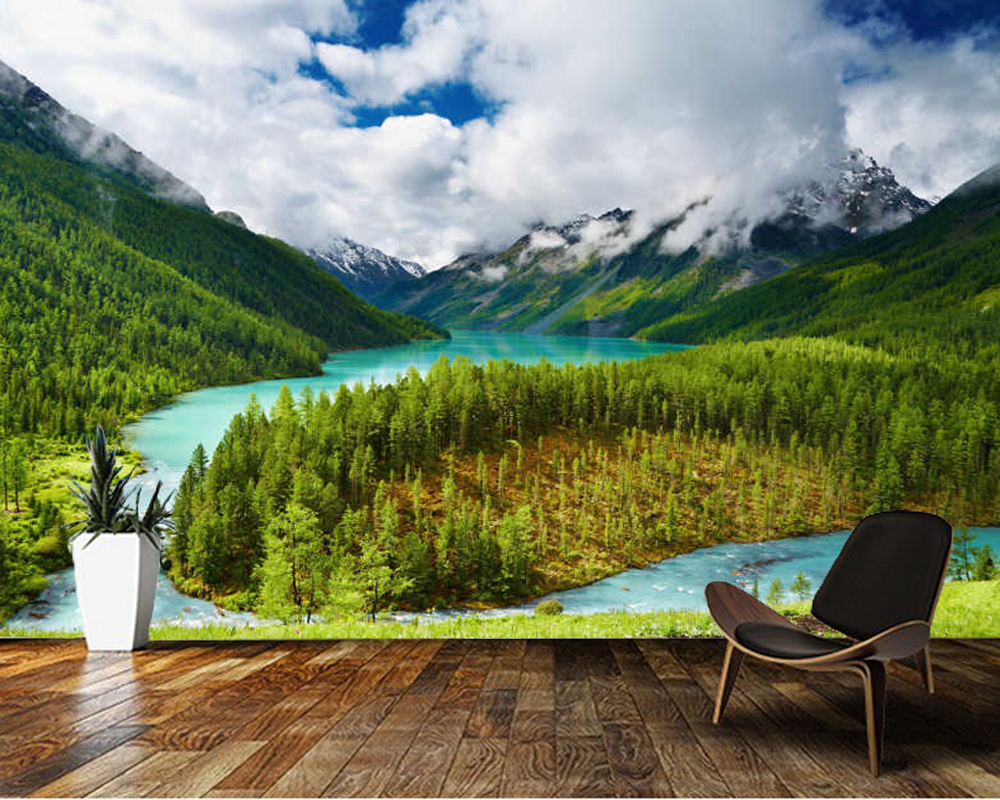 Papel de parede Beautiful lake in the mountains natural landscape 3d wallpaper living room bedroom wall