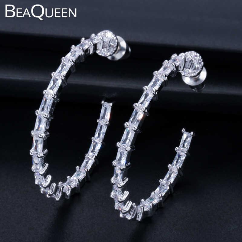 Beaqueen Fashion 925 Sterling Silver Pin Lingkaran Besar Round Hoop Anting-Anting Jelas Baguette Cubic Zircon Kristal Perhiasan Wanita E219