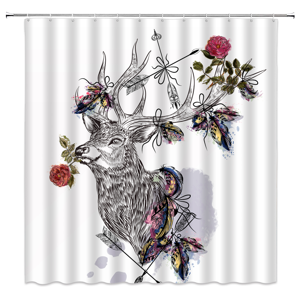 Deer Shower Curtain Waterproof and Mildew Proof Decorative Bathroom Curtains