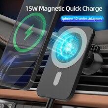 Soporte magnético para cargador de coche inalámbrico, base de carga rápida de 15W para iPhone 12mini 12 Pro Max Magsafing