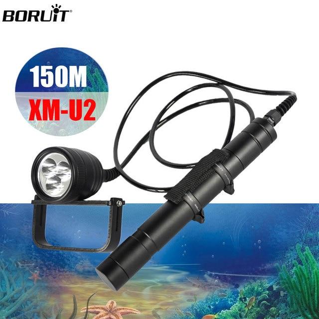 BORUiT XM L U2 LED المهنية الغوص مصباح يدوي 5 وضع تحت الماء 150 متر المشاعل الغوص مصباح الغواصة فانوس