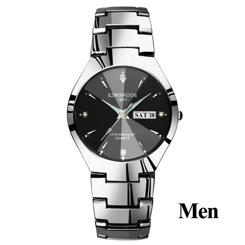 Часы для влюбленных Роскошные Кварцевые наручные часы для мужчин и женщин Hodinky Dual Calender Week steel Saat Reloj Mujer Hombre парные часы - Цвет: Men Silver Black