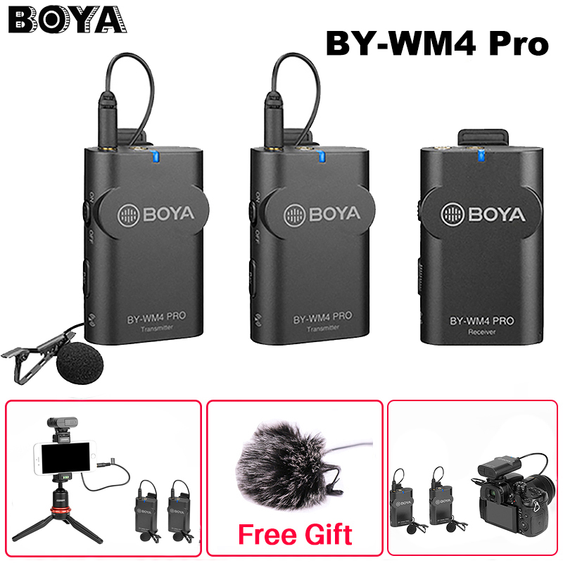 Boya BY-WM4 Pro Dual Channel 2.4G Wireless Studio Condenser Microphone Lavalier Interview Mic For IPhone Canon Nikon Cameras