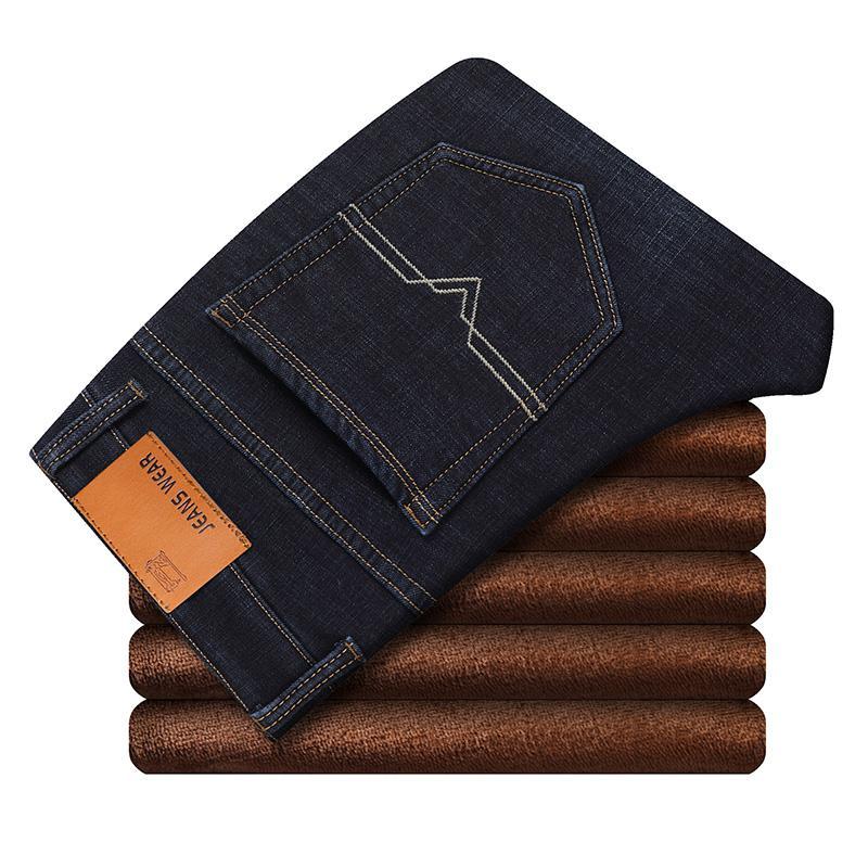 Брендовые мужские зимние Стрейчевые плотные джинсы, теплые флисовые высококачественные джинсовые байкерские джинсовые штаны, брюки, размер 28-40 - Цвет: Черный