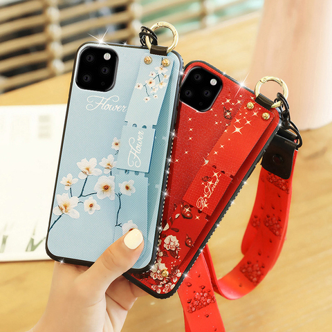 Finger ring Wrist Strap stand case for apple iphone 11 pro max iphone11 11pro 11max luxury Diamond bling soft phone back cover Karachi