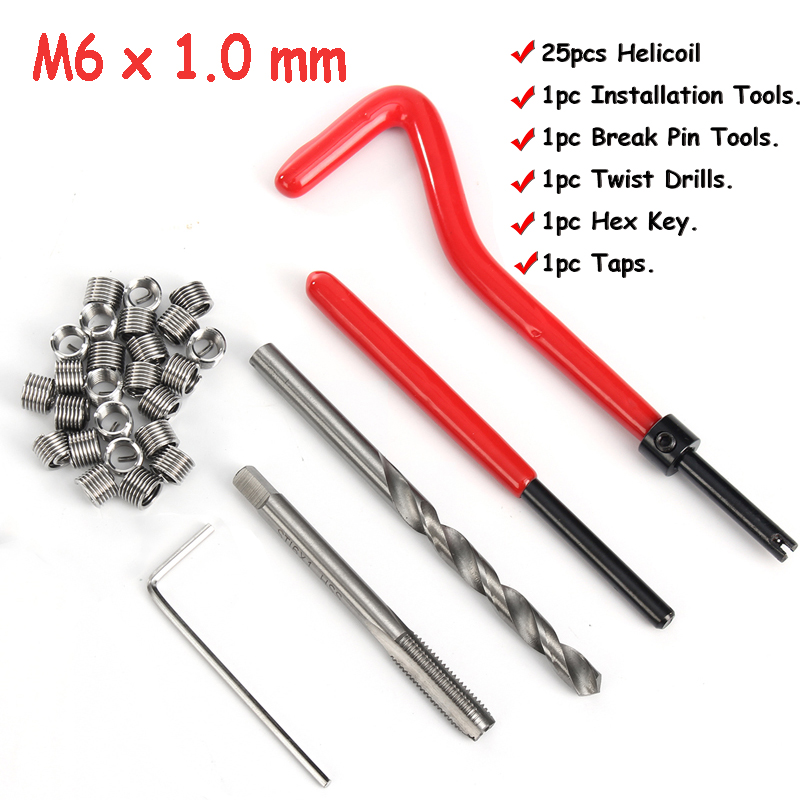 30 Pcs Car Helicoil M6*1.0mm Stainless Steel Helicoil Pro Coil Drill Tool Car Thread Repair Kit