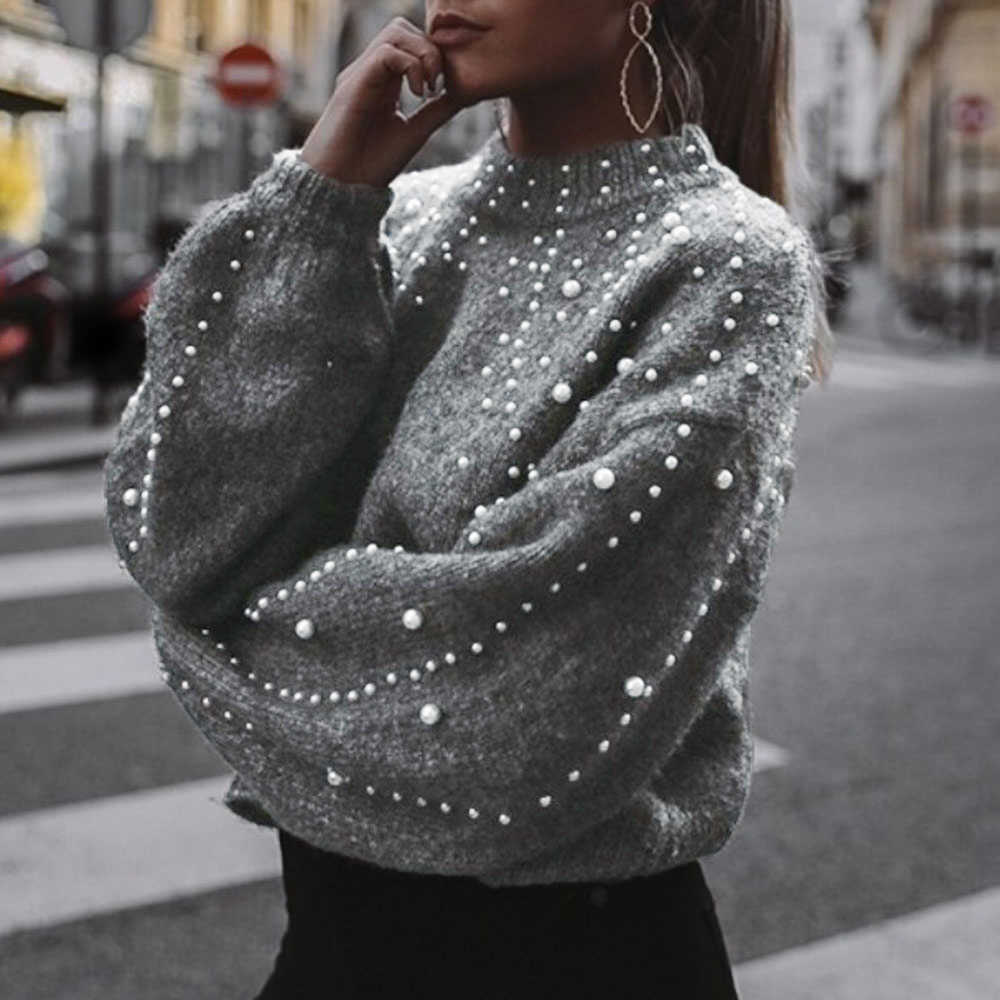 2019 Sweater Women Knitted Sweaters With Beading Autumn Trendy Threaded Neck Jumper Pull Femme Top Jumper Pullover Sweater mujer