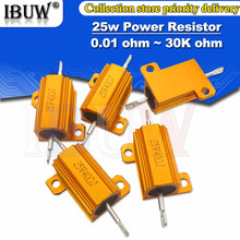 RX24 25W Alumínio Shell Power Metal Caso Wirewound Resistor 0.01 ~ 30K 1 2 3 5 6 8 10 20 100 150 200 300 500 K 10 1K ohm