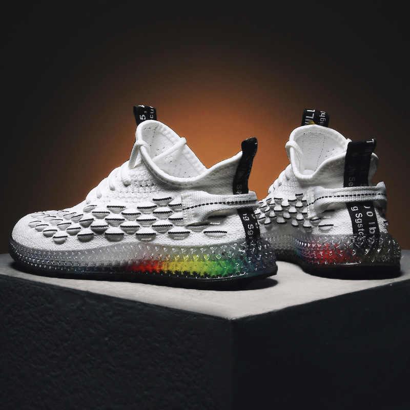 Повседневная модная обувь мужская 4D принт мужские s папа кроссовки Летающая плетеная сетка дышащая обувь уличная теннисная обувь zapatillas hombre