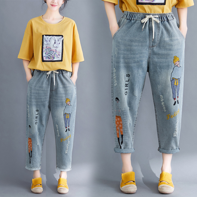 Sc2019 Summer New Style Literature And Art Large Size WOMEN'S Pants Embroidery 9 Points Jeans