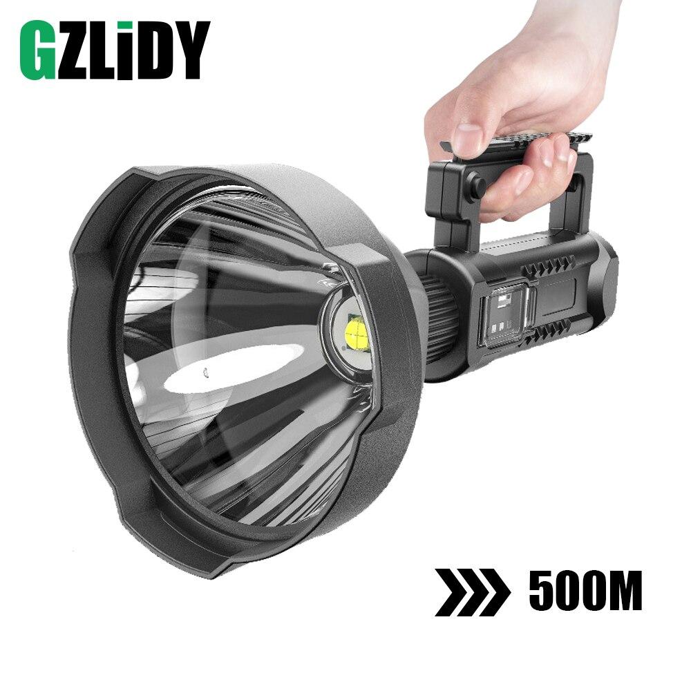 Powerful LED Flashlight Portable XHP70 2 Torch USB Rechargeable Searchlight Waterproof Spotlight with Base Fishing Light Lantern