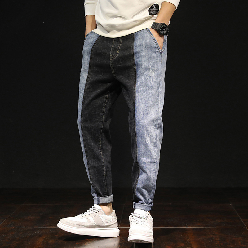 Idopy Men`s Stretchy Regular Fit Hiphop Patchwork Colourful Denim Pants Joggers Jeans Trousers For Male Hipster